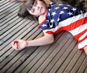 Little girl with beautiful long hair Stock Photo 05