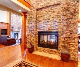 Living room with stone fireplace Stock Photo