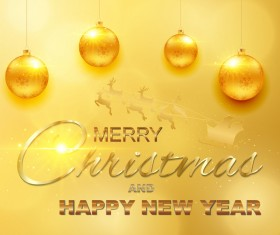 Luxury golden christmas with new year background vector 01