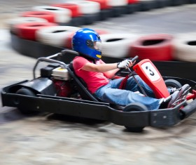 Man playing karting Stock Photo