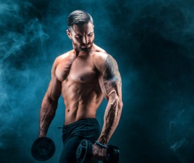 Man using dumbbell fitness Stock Photo 01