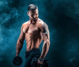 Man using dumbbell fitness Stock Photo 01