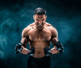Man using dumbbell fitness Stock Photo 02