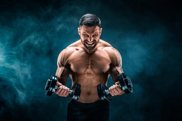 Man using dumbbell fitness Stock Photo 02