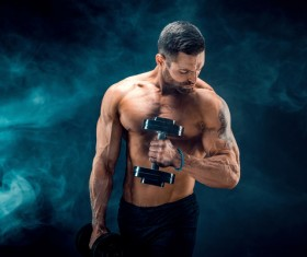 Man using dumbbell fitness Stock Photo 03