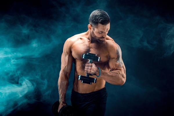 Man using dumbbell fitness Stock Photo 03
