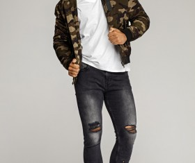 Men in camouflage jackets Stock Photo