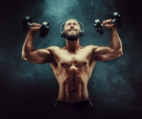 Men lifting dumbbells with headphones