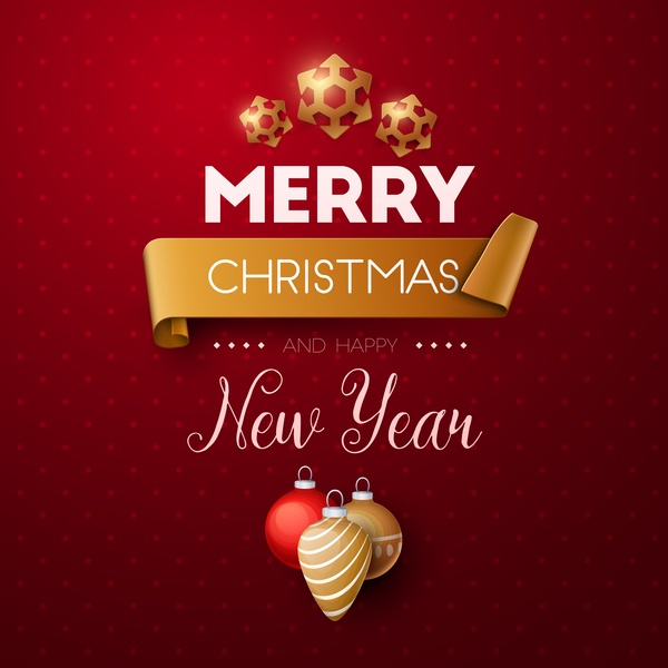 merry christmas and happy new year background vector 02