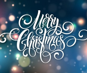 Merry christmas text abstract with blurs background vector