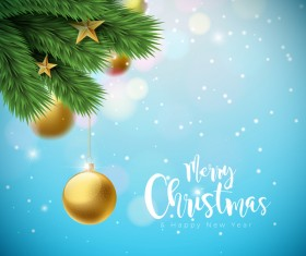 Merry christmas with new year bokeh background vector 01