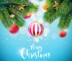 Merry christmas with new year bokeh background vector 02