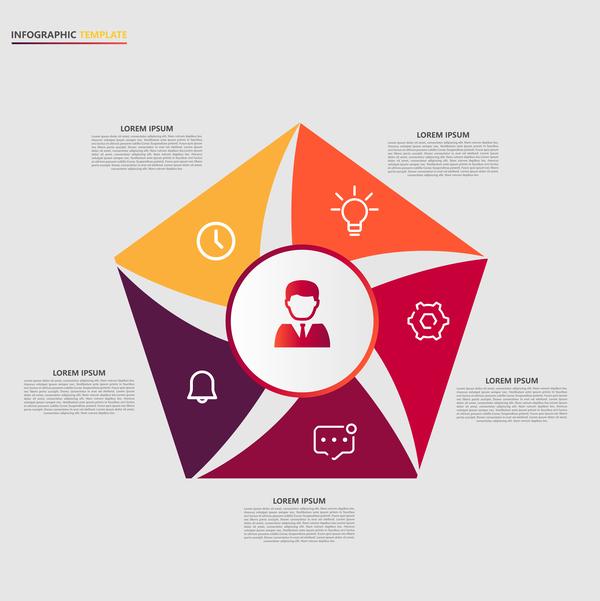 Minimalistic design infographic template vectors material 15
