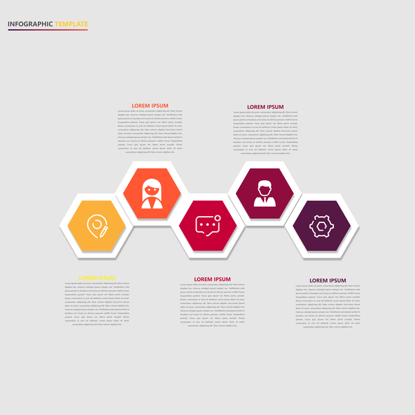 Minimalistic design infographic template vectors material 18