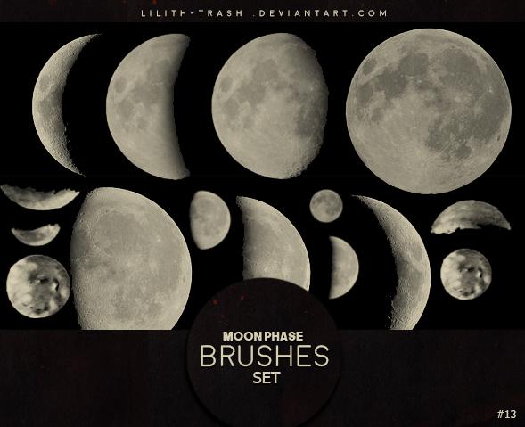 Moon Phase photoshop brushes