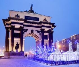 Moscow Arc de Triomphe festive decoration Stock Photo
