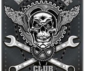 Motorcycle club sign design vector 01