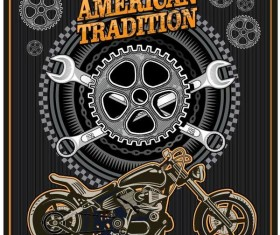 Motorcycle club sign design vector 02