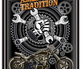 Motorcycle club sign design vector 03