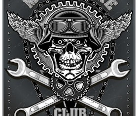 Motorcycle club sign design vector 04