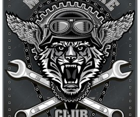 Motorcycle club sign design vector 05