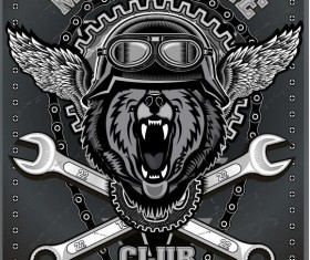 Motorcycle club sign design vector 07