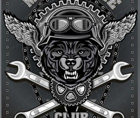 Motorcycle club sign design vector 08