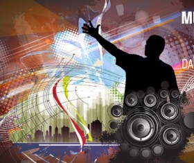 Music club modern background vector
