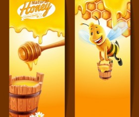 Nature honey banners design vectors 03