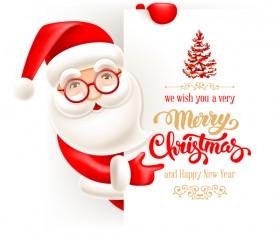 New year with christmas card and santa vectors
