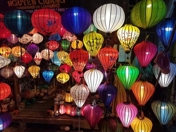 Night market colorful lantern Stock Photo