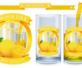 Orange juice design labels vector 01