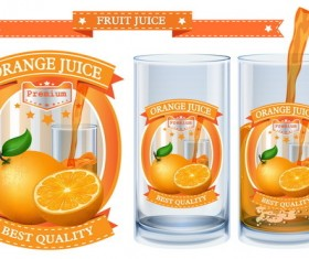 Orange juice design labels vector 02