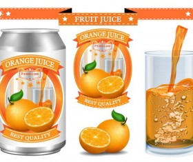 Orange juice design labels vector 03