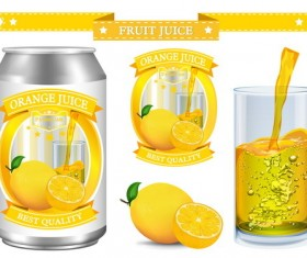 Orange juice design labels vector 04