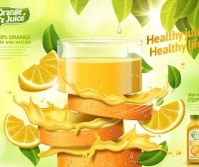 Orange pure and nature juice poster design vector 01