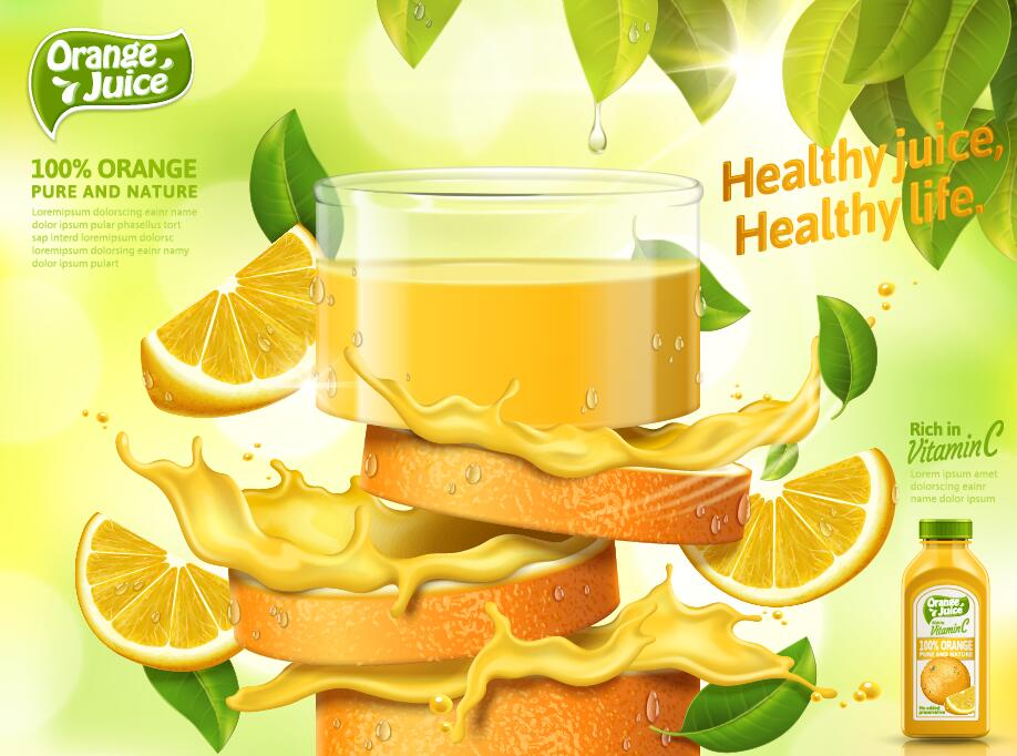 Orange pure and nature juice poster design vector 01