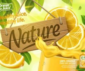 Orange pure and nature juice poster design vector 02
