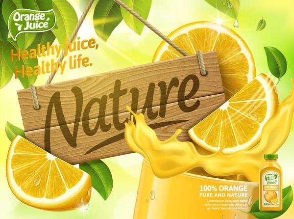 Orange pure and nature juice poster design vector 02