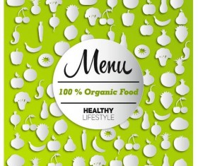Organic food menu cover design vector 01