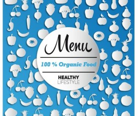 Organic food menu cover design vector 02