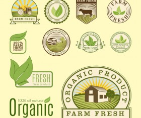 Organic fresh food labels vector
