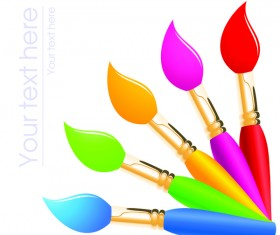 Paint pen with white background vector 02