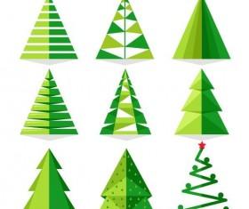 Paper cut christmas tree vectors set 01