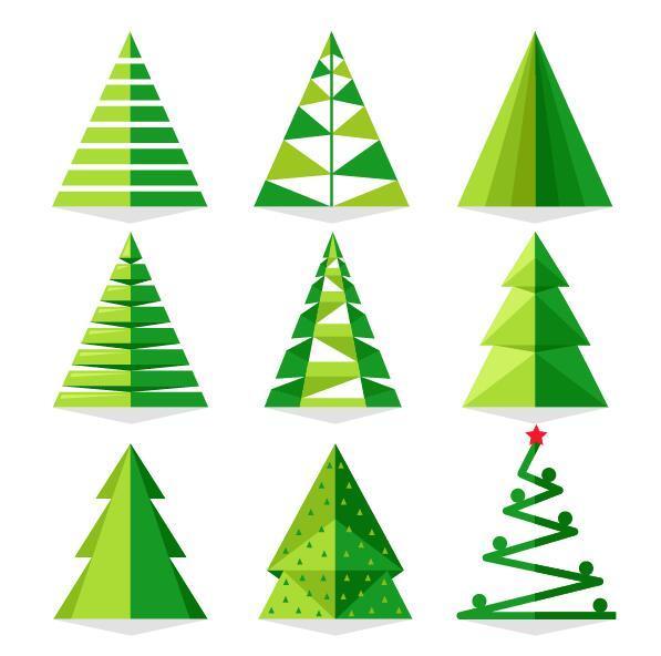 Paper cut christmas tree vectors set 01 free download