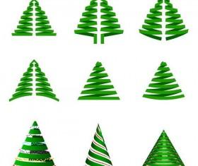Paper cut christmas tree vectors set 02