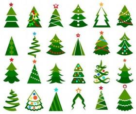 Paper cut christmas tree vectors set 03
