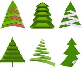 Paper cut christmas tree vectors set 04
