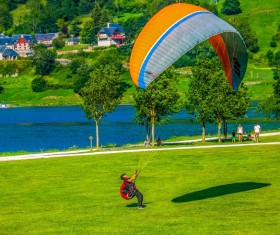 Paragliding motion Stock Photo