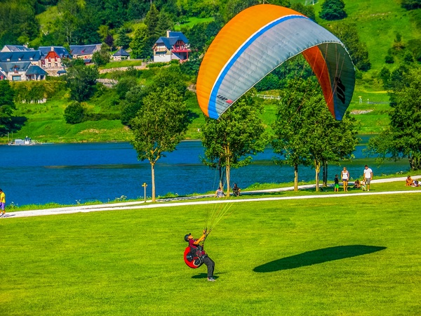 Paragliding motion Stock Photo